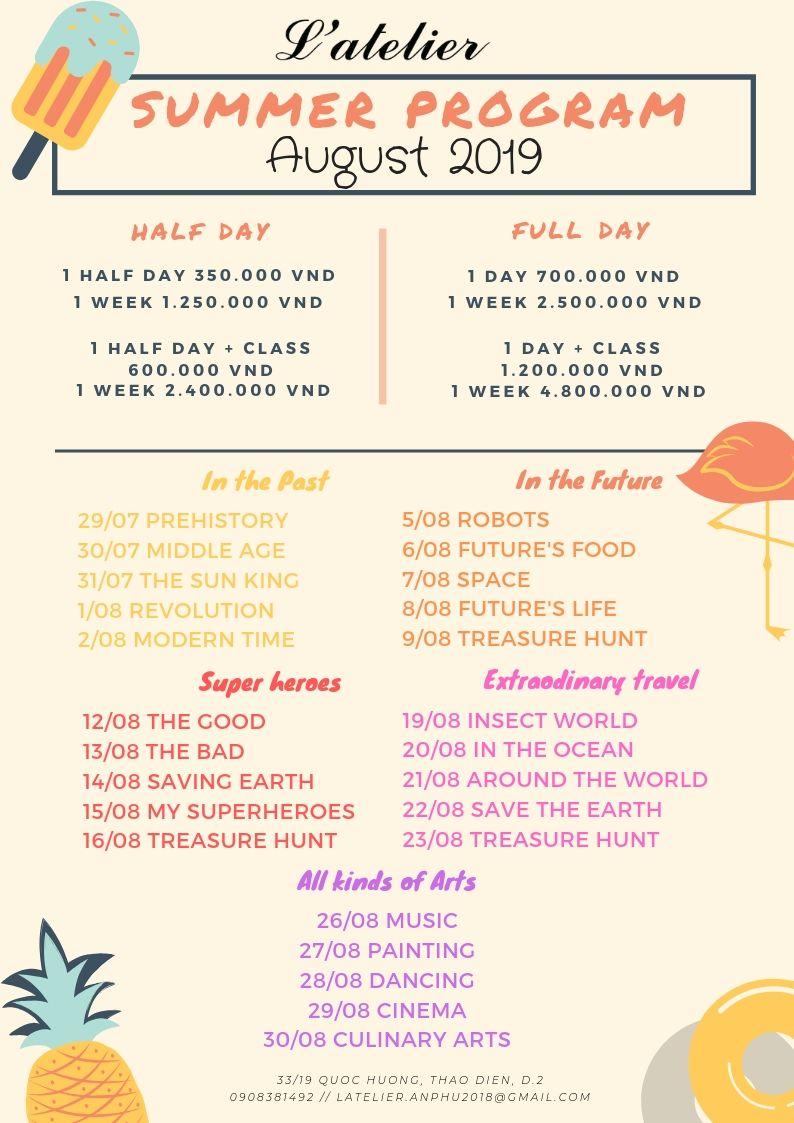 August Activities Atelier